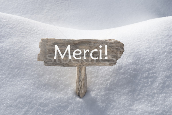 Christmas Sign With Snow Merci Means Thank You Stock photo © Nelosa