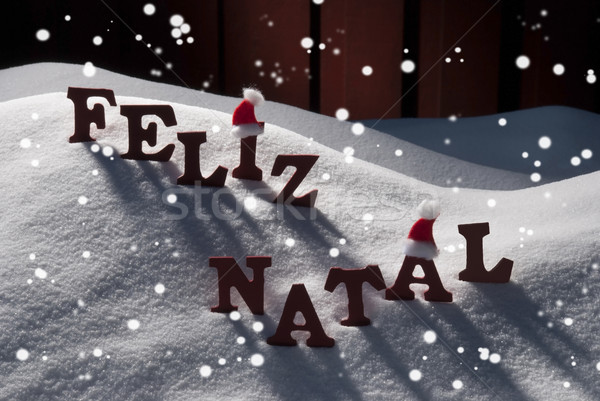 Card With Santa Hat,Snowflake, Feliz Natale Mean Merry Christmas Stock photo © Nelosa
