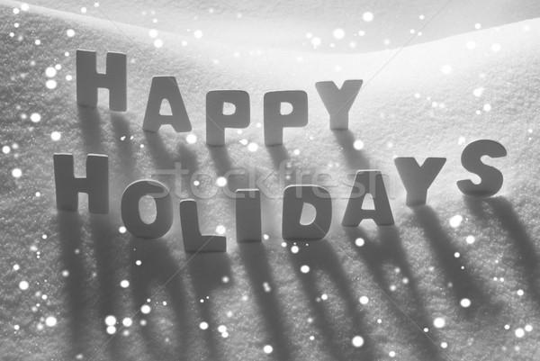 White Word Happy Holidays On Snow, Snowflakes Stock photo © Nelosa