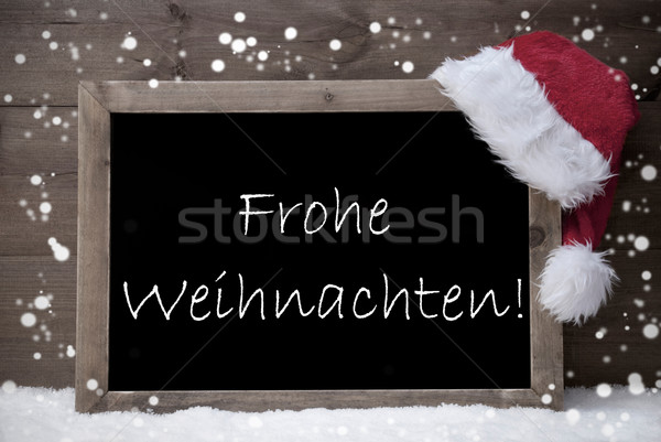 Gray Card, Chalkboard, Frohe Weihnachten Mean Merry Christmas Stock photo © Nelosa