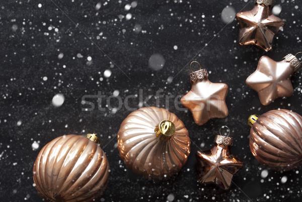 Bronce árbol de navidad espacio de la copia negro Foto stock © Nelosa