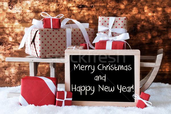 Stockfoto: Slee · geschenken · sneeuw · bokeh · tekst · vrolijk