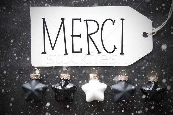 Black Christmas Balls, Snowflakes, Merci Means Thank You Stock photo © Nelosa