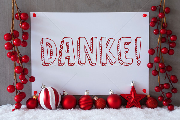 Label, Snow, Christmas Balls, Danke Means Thank You Stock photo © Nelosa