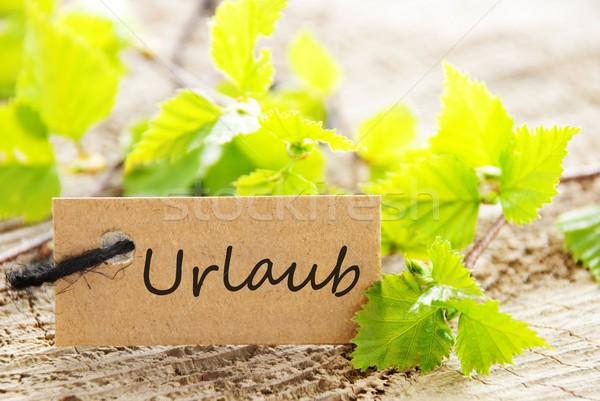 Stockfoto: Label · natuurlijke · naar · groene · bladeren · woord · vakantie