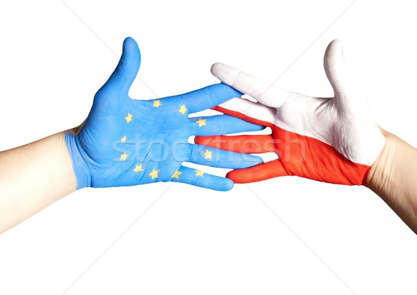 handshake between europe and poland Stock photo © Nelosa