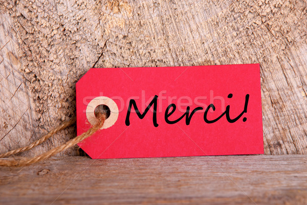 Red Tag with Merci Stock photo © Nelosa