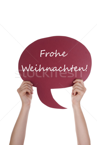 Red Speech Balloon With German Frohe Weihnachten Stock photo © Nelosa