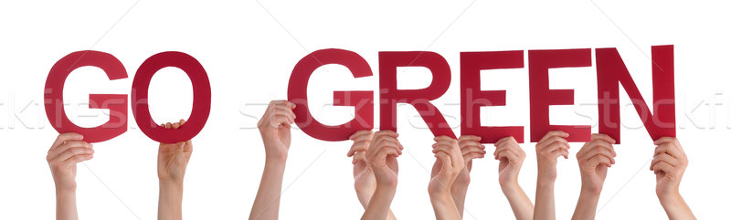 Stock photo:  People Hands Holding Red Straight Word Go Green