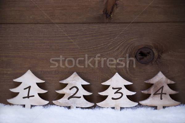 Wooden Christmas Trees On Snow, Copy Space, Four Numbers, Advent Stock photo © Nelosa