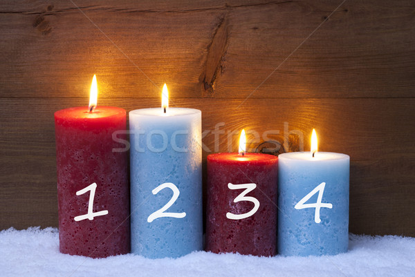 Christmas Card With Four Candles, Advent, 1, 2, 3, 4 Stock photo © Nelosa