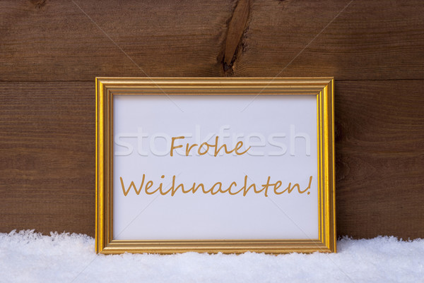 Frame With Text Frohe Weihnachten Mean Merry Christmas On Snow Stock photo © Nelosa