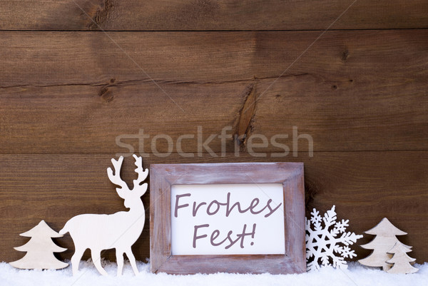 Shabby Chic Card With Frohes Fest Mean Merry Christmas Stock photo © Nelosa