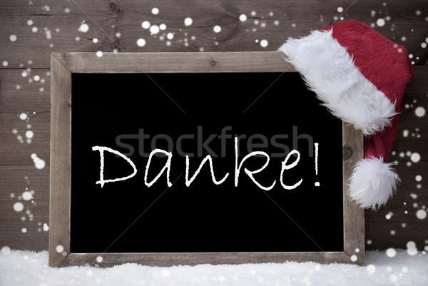 Gray Christmas Card, Chalkboard, Danke Mean Thank You, Snow Stock photo © Nelosa