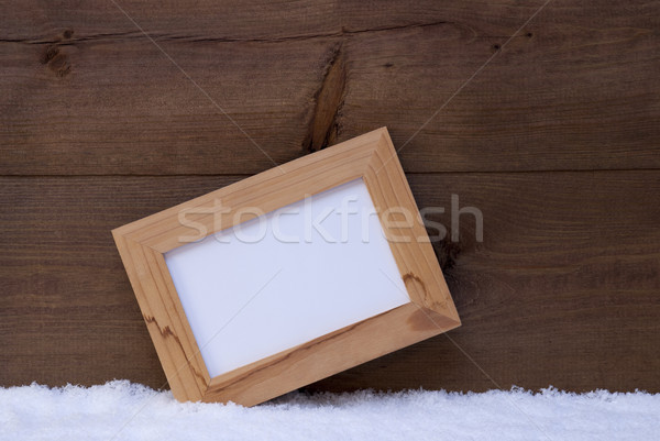 Christmas Card With Picture Frame And Copy Space, Snow Stock photo © Nelosa