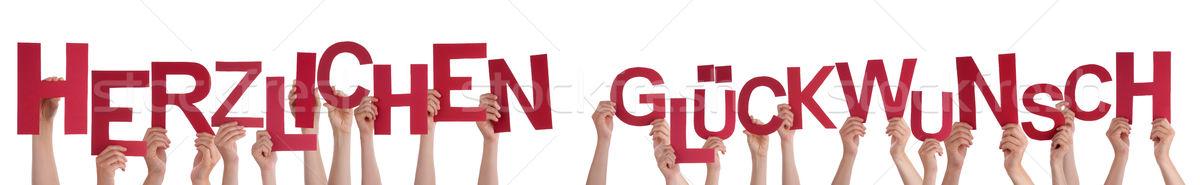 Menschen Wort Glückwunsch viele Hände Stock foto © Nelosa