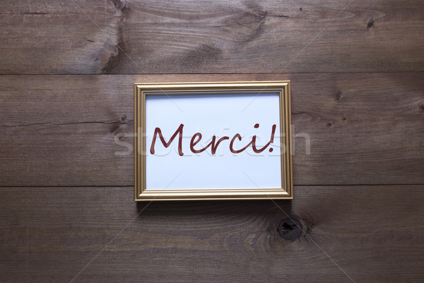 Golden Picture Frame With Copy Space Merci Mean Thank You Stock photo © Nelosa