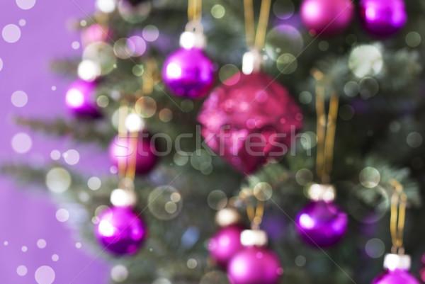 Foto stock: árvore · de · natal · rosa · quartzo · bokeh
