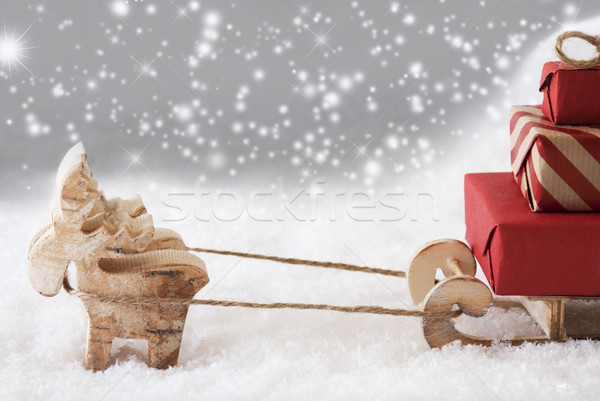 Reindeer With Sled, Silver Snowflakes Background, Copy Space Stock photo © Nelosa