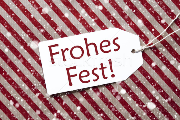 Label On Red Paper, Frohes Fest Means Merry Christmas, Snowflakes Stock photo © Nelosa