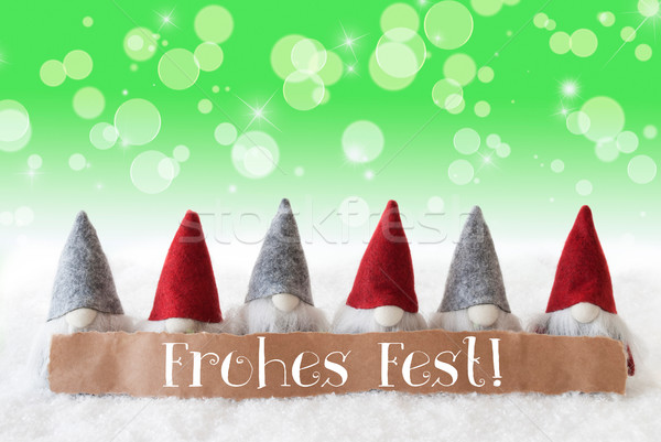 Gnomes, Green Background, Bokeh, Stars, Frohes Fest Means Merry Christmas Stock photo © Nelosa