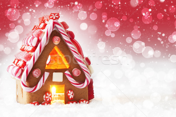Gingerbread House, Red Background With Bokeh And Snowflakes, Copy Space Stock photo © Nelosa