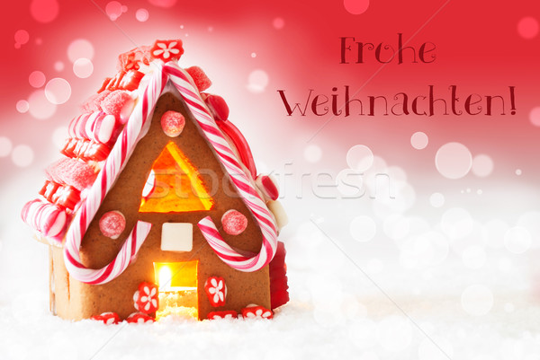 gingerbread house red background text frohe weihnachten. Black Bedroom Furniture Sets. Home Design Ideas