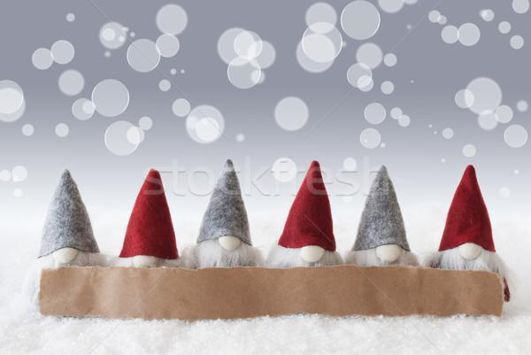 Gnomes, Silver Background, Bokeh, Copy Space Stock photo © Nelosa