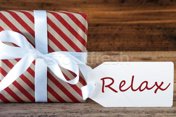 Presenti etichetta testo relax macro Natale Foto d'archivio © Nelosa