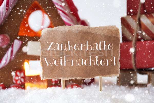 Gingerbread House, Sled, Snowflakes, Weihnachten Means Magic Christmas Stock photo © Nelosa