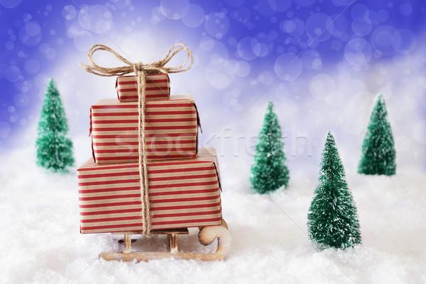 Рождества сани снега синий подарки представляет Сток-фото © Nelosa