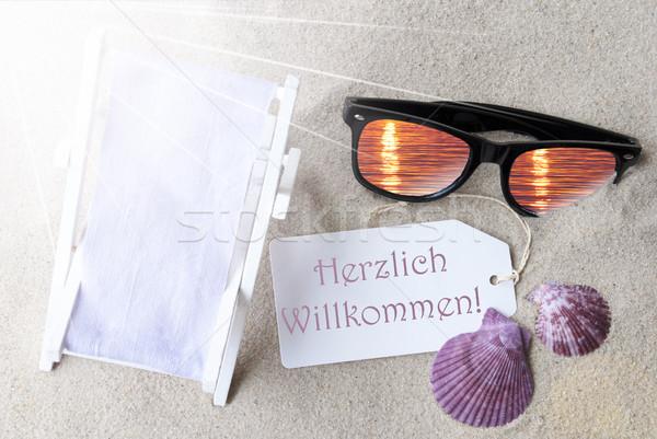 Sunny Flat Lay Summer Label Herzlich Willkommen Means Welcome Stock photo © Nelosa