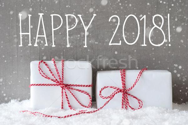 Dois presentes flocos de neve texto feliz inglês Foto stock © Nelosa