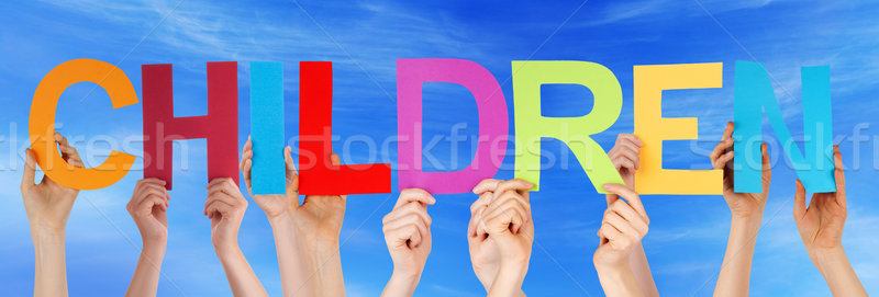 Stock photo: Many People Hands Holding Colorful Straight Word Children Blue S