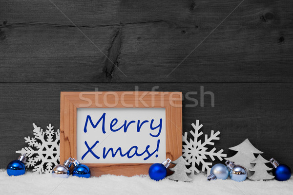 Stock photo: Blue Gray Christmas Decoration, Snow, Merry Xmas