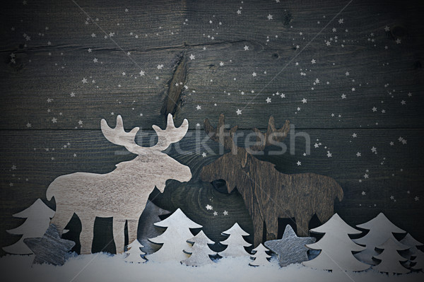 Vintage Christmas Decoration, Moose Couple In Love, Snowflakes Stock photo © Nelosa