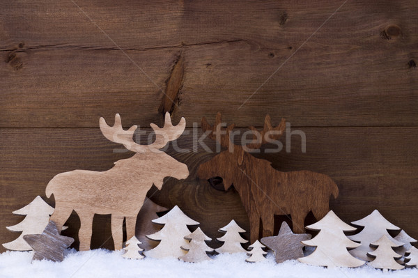 Christmas Decoration, Moose Couple In Love, Snow And Trees Stock photo © Nelosa