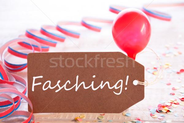 Parti etiket balon metin karnaval bir Stok fotoğraf © Nelosa