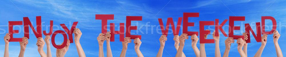 люди рук красный слово наслаждаться Сток-фото © Nelosa