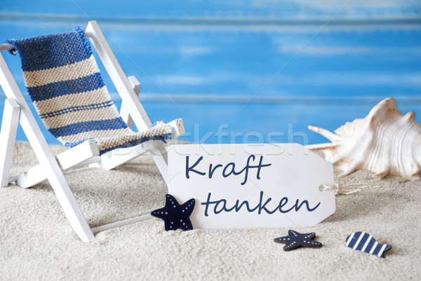 Summer Label With Deck Chair, Kraft Tanken Means Relaxation Stock photo © Nelosa