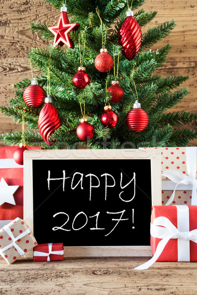 Colorful Christmas Tree With Text Happy 2017 Stock photo © Nelosa