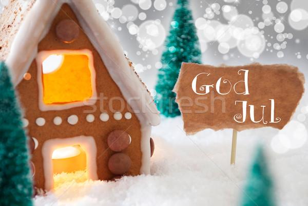 Peperkoek huis zilver god vrolijk christmas Stockfoto © Nelosa