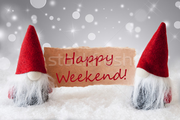 Red Gnomes With Card And Snow, Text Happy Weekend Stock photo © Nelosa