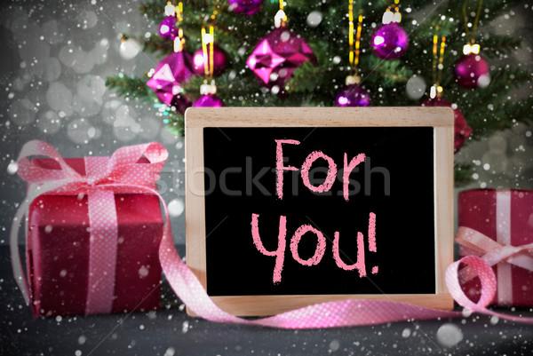 árbol regalos bokeh texto árbol de navidad Foto stock © Nelosa