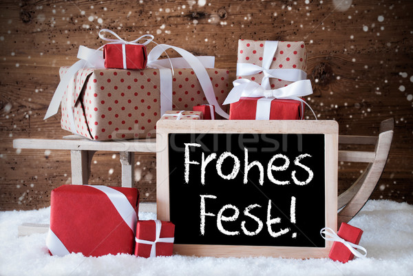 Sleigh With Gifts, Snow, Snowflakes, Frohes Fest Means Merry Chr Stock photo © Nelosa