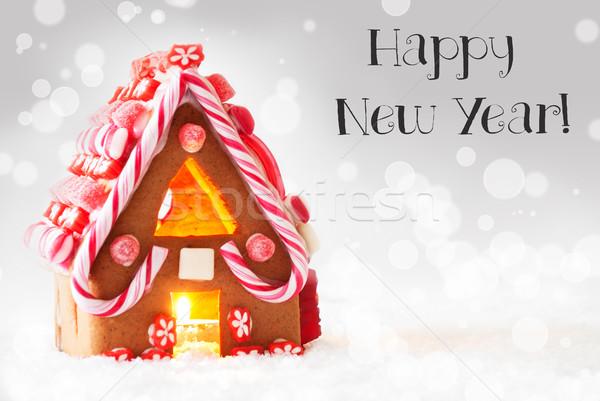 Zencefilli çörek ev gümüş metin happy new year manzara Stok fotoğraf © Nelosa