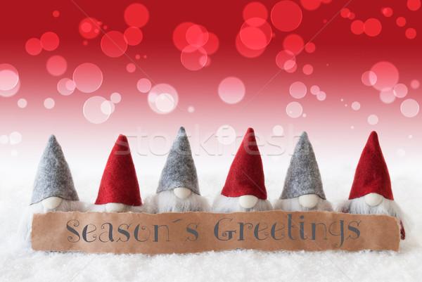 Gnomes, Red Background, Bokeh, Text Seasons Greetings Stock photo © Nelosa