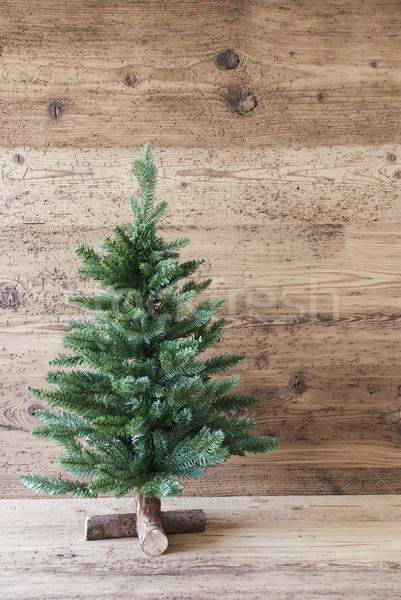 Vertical Christmas Tree, Aged Wooden Background, Shabby Chic Stock photo © Nelosa