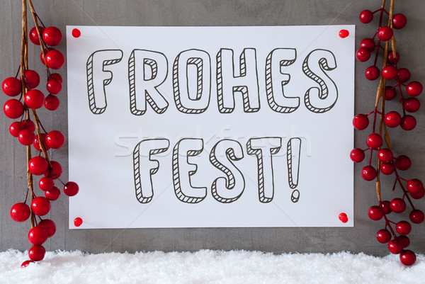 Label, Snow, Decoration, Frohes Fest Means Merry Christmas Stock photo © Nelosa