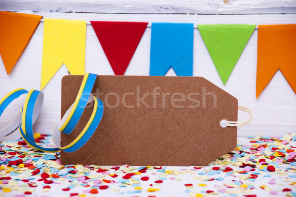 Party Label With Streamer, Copy Space Stock photo © Nelosa